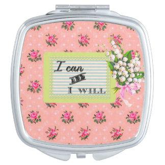 ピンクのヴィンテージの壁紙の女の子力の鏡