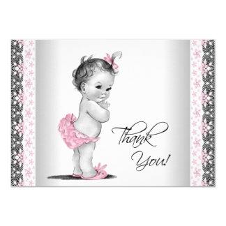 ピンクのヴィンテージの女の赤ちゃんは感謝していしています 11.4 X 15.9 インビテーションカード