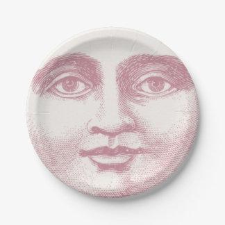 ピンクのヴィンテージの満月様顔貌 ペーパープレート