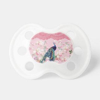 ピンクのヴィンテージの花のエレガントなレースのカラフルの孔雀 おしゃぶり