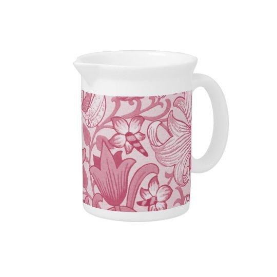 ピンクのヴィンテージの花柄の水差し 飲み物ピッチャー