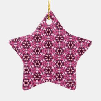 ピンクの万華鏡のように千変万化するパターン セラミックオーナメント