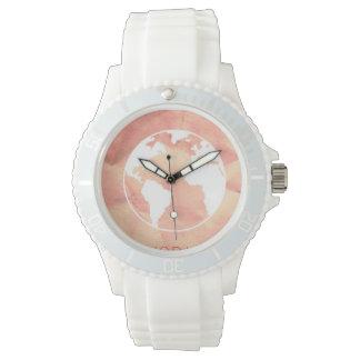 ピンクの世界地図の腕時計 腕時計