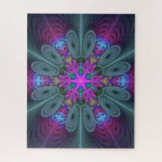 ピンクの中心のカラフルなフラクタルの芸術からの曼荼羅 ジグソーパズル