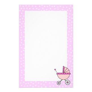 ピンクの乳母車の文房具 便箋