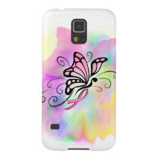 ピンクの乳癌のリボンの蝶水彩画の芸術 GALAXY S5 ケース
