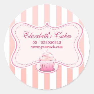 ピンクの乳白色のカップケーキのステッカー 丸形シール・ステッカー