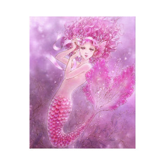 ピンクの人魚のキャンバスのプリント キャンバスプリント