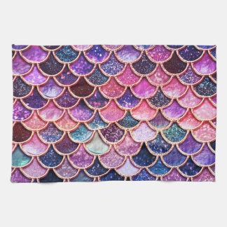 ピンクの人魚のグリッターのスケールの人魚のスケール キッチンタオル