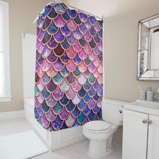 ピンクの人魚のグリッターのスケールの人魚のスケール シャワーカーテン