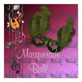 ピンクの仮面舞踏会の招待状の緑のマスク カード