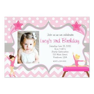 ピンクの体操のパーティーの誕生日の招待状 カード