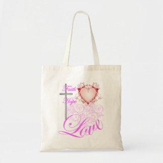 ピンクの信頼希望及び愛 トートバッグ