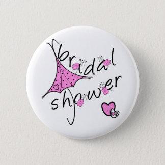 ピンクの傘のブライダルシャワー 5.7CM 丸型バッジ