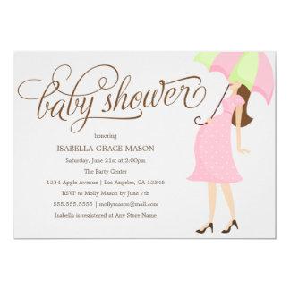 ピンクの傘|のベビーシャワーの招待 カード