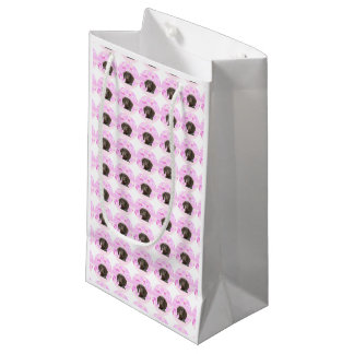 ピンクの光沢のあるハイイログマ スモールペーパーバッグ