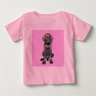 ピンクの光沢のあるハイイログマ ベビーTシャツ