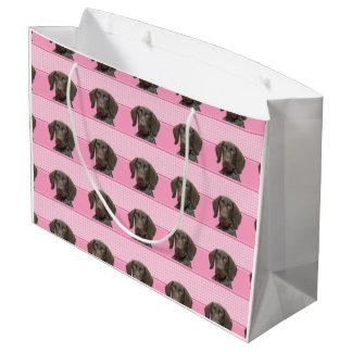 ピンクの光沢のあるハイイログマ ラージペーパーバッグ