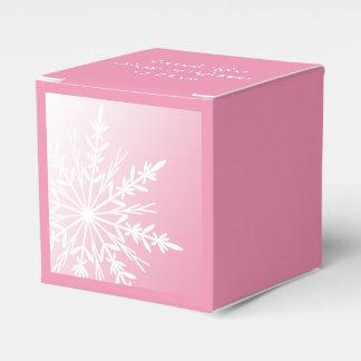 ピンクの冬の結婚式の白い雪片 フェイバーボックス