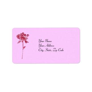 ピンクの切口のバラの住所lables ラベル