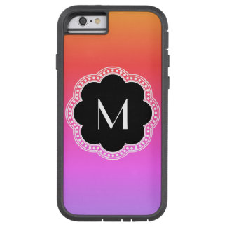 ピンクの勾配のNoirスタイルの花のボーダーモノグラム Tough Xtreme iPhone 6 ケース
