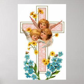 ピンクの十字との美しいヴィンテージの天使 ポスター