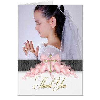 ピンクの十字の写真第1の聖餐のサンキューカード カード