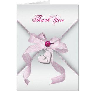 ピンクの十字の洗礼の《キリスト教》洗礼式や命名式は感謝していしています カード