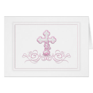 ピンクの十字の洗礼第1の聖餐のサンキューカード カード