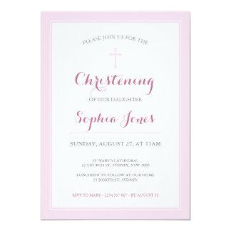 ピンクの十字の《キリスト教》洗礼式や命名式か洗礼の招待状 カード