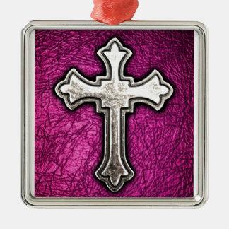 ピンクの十字 メタルオーナメント