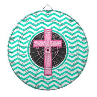 ピンクの十字; 水緑のシェブロン ダーツボード