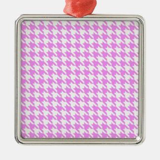 ピンクの千鳥格子の メタルオーナメント