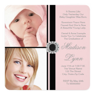 ピンクの卒業の発表 カード