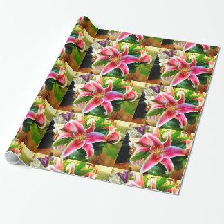 ピンクの占星家ユリの包装紙 ラッピングペーパー