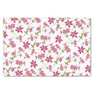 ピンクの占星家ユリの花柄のティッシュペーパー 薄葉紙