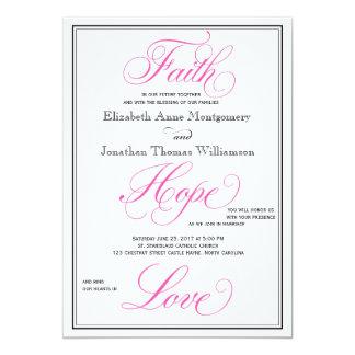 ピンクの原稿の信頼の希望愛結婚式招待状 カード