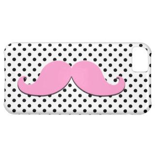 ピンクの口ひげの黒の水玉模様 iPhone5Cケース