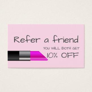ピンクの口紅の紹介カード 名刺