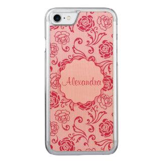 ピンクの名前の茶バラの花の格子パターン CARVED iPhone 8/7 ケース