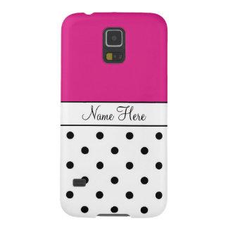 ピンクの名前をカスタムする、黒く及び白い水玉模様 GALAXY S5 ケース