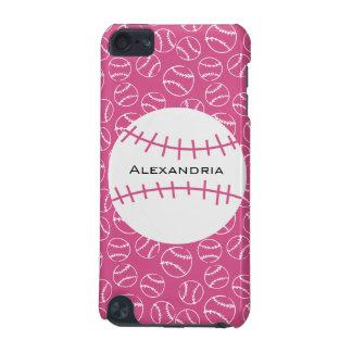 ピンクの名前入りな野球のソフトボールパターン iPod TOUCH 5G ケース