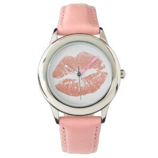 ピンクの唇のキスの子供の腕時計 腕時計