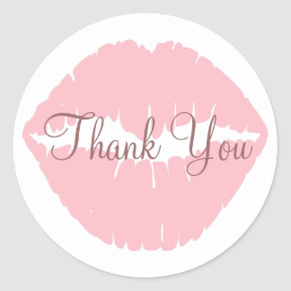 ピンクの唇は感謝していしています ラウンドシール