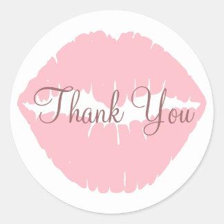 ピンクの唇は感謝していしています 丸形シールステッカー