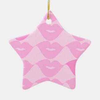 ピンクの唇 セラミックオーナメント