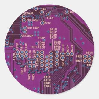 ピンクの回路のギーク ラウンドシール