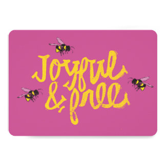 ピンクの図解入りの、写真付きの嬉しく及び自由な蜂をブンブンいう音 カード