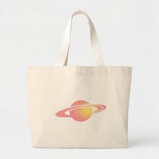 ピンクの土星 ラージトートバッグ