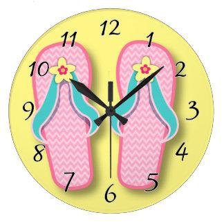ピンクの夏のフリップフロップ ラージ壁時計